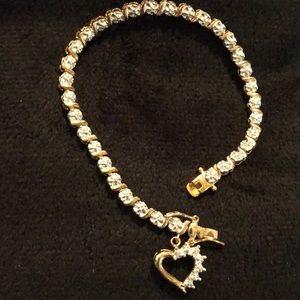 Jewelry - Gold & Sterling Silver 925 Heart Tennis Bracelet